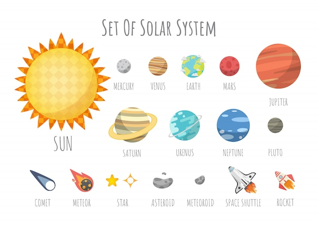 Satz des universums, des sonnensystemplaneten und des raumelements auf universum. vektorabbildung in der karikaturart.