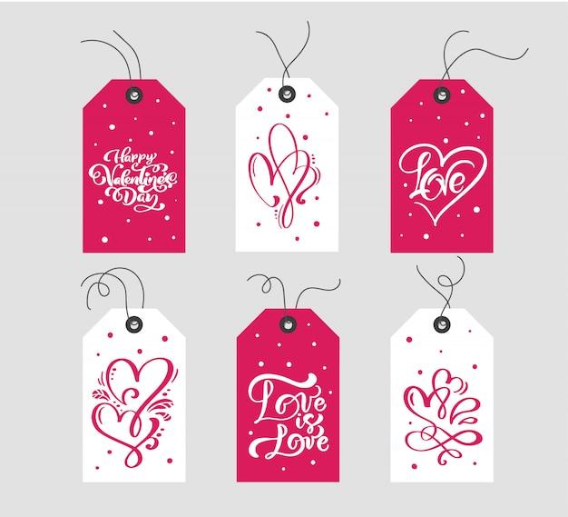Satz des valentinstaggeschenks etikettiert typografischen vektor. feiertags-valentinsgrußkarte