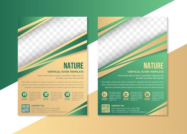 Satz des vertikalen layouts der flyer-design-vorlage für die diagonale form der natur für platz für fotos