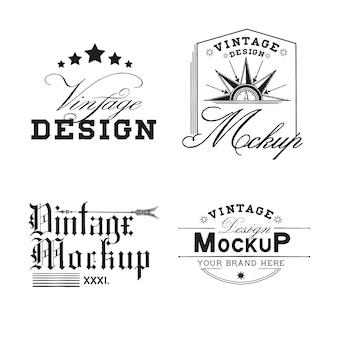 Satz des vintagen modelllogo-designvektors