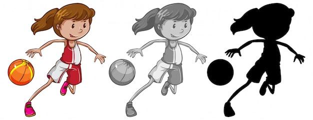 Satz des weiblichen basketballspielers