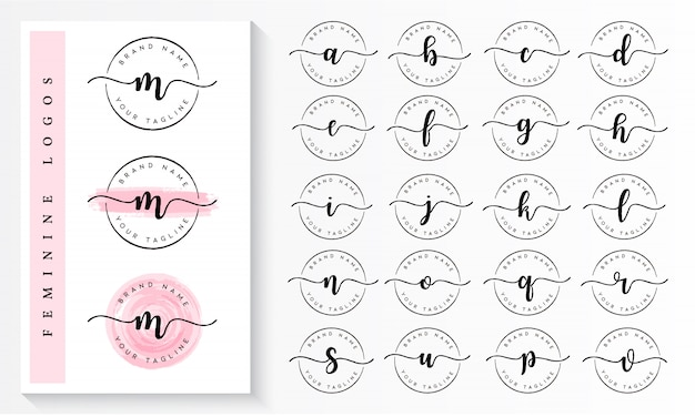 Satz des weiblichen logo-branding-schablonenvektors