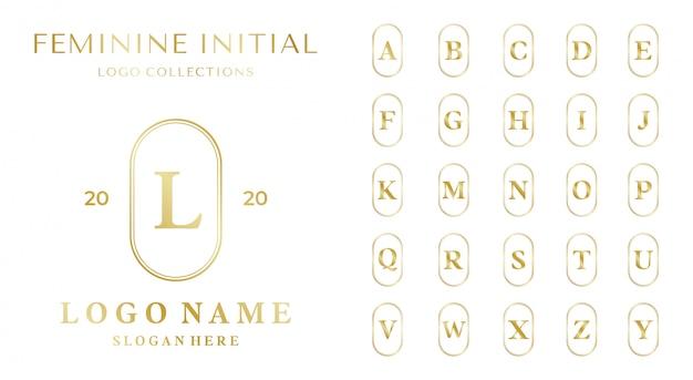 Satz des weiblichen logo-konzepts mit alphabetschablone.