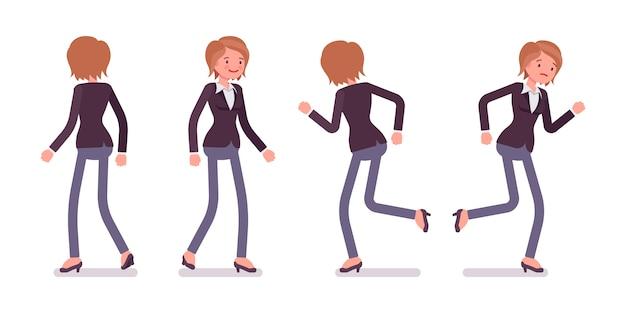 Satz des weiblichen managers beim gehen, laufende haltungen, hintere, vorderansicht