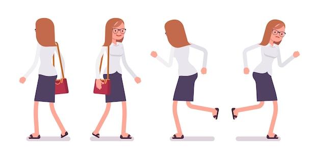 Satz des weiblichen sekretärs beim gehen und laufen wirft, hintere, vorderansicht auf