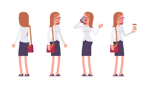 Satz des weiblichen sekretärs in stehenden haltungen, hintere, vorderansicht