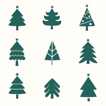Satz des weihnachtsbaumgestaltungselementvektors