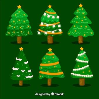 Satz des weihnachtsbaums im flachen design