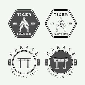Satz des weinlese-karate- oder kampfkunstlogos, -emblems, -ausweises, -aufklebers und -gestaltungselemente. vektor-illustration