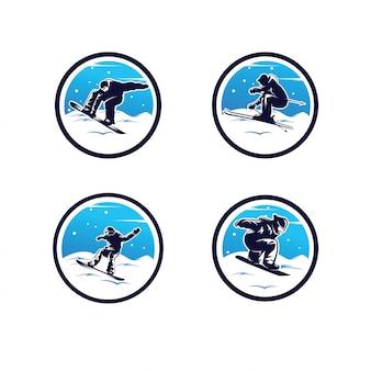 Satz des wintersport-logos. snowboard-logo
