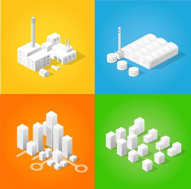 Satz designvorlagen, designelemente, gebäude mit isometrischen objekten