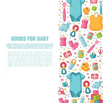 Satz designvorlagen für vertikale banner mit kindheitsmustern. neugeborenes personal zum dekorieren von flyern. kleidung, spielzeug, accessoires für babys. quadratisches plakat mit säuglingsartikel. .