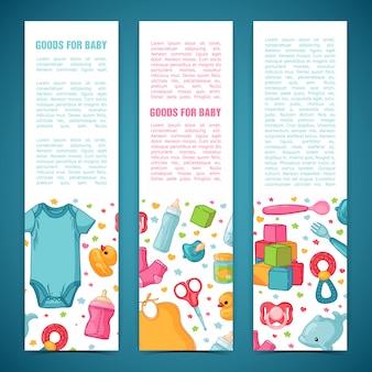 Satz designvorlagen für vertikale banner mit kindheitsmustern. neugeborenes personal zum dekorieren von flyern. kleidung, spielzeug, accessoires für babys. .