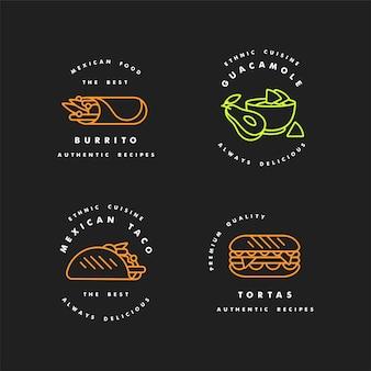 Satz designvorlagen logos und embleme - mexikanisches essen. traditionelles mexikanisches nationalessen. logos im trendigen linearen stil lokalisiert auf weißem hintergrund.