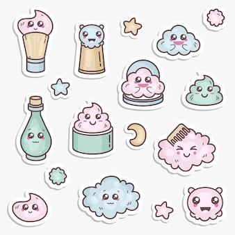 Satz designvorlagen patches und embleme oder abzeichen, pin für die schönheitspflege. asiatische kosmetik - creme, puder, essenz. kawaii gesichter.