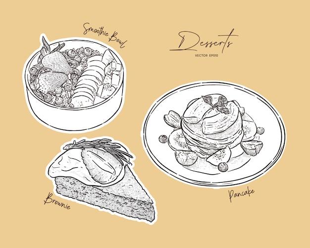 Satz dessert, smoothie-schüssel, pfannkuchen und brownie oben mit verschiedenen früchten. handzeichnung skizze