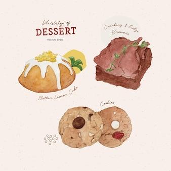 Satz dessertbutter zitronenkuchen brownie und keks aquarellart