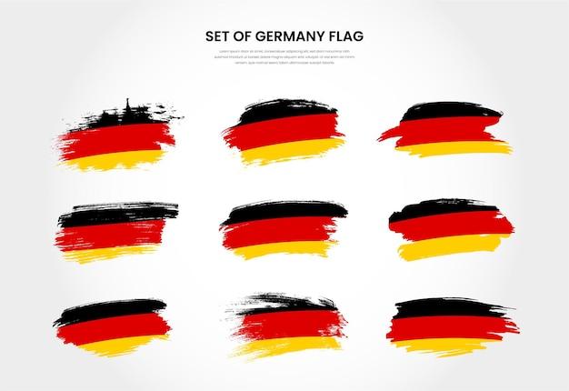 Satz deutschland country grunge pinselstrich flaggen sammlung