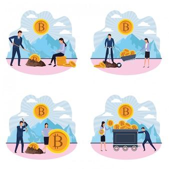 Satz digitaler bergbau-bitcoin coupple