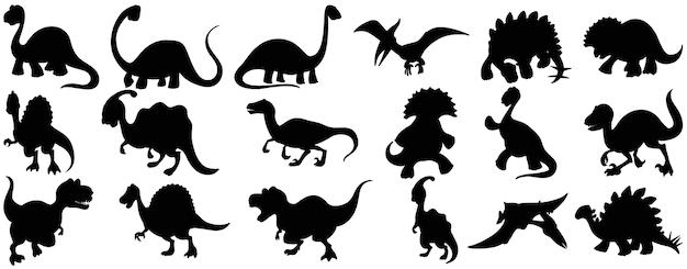 Satz dinosaurierkarikaturcharakter-silhouette