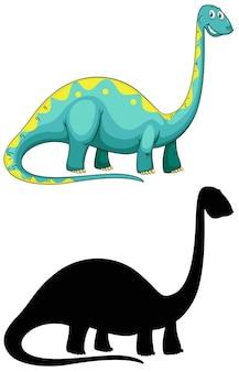 Satz dinosaurierkarikaturcharakter und seine silhouette auf weißem hintergrund