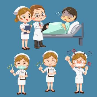 Satz doktor, der kleidermantel und krankenschwesterfrau in der weißen uniform mit unterschiedlichem handeln trägt, und patient, der auf bett in karikaturfigur liegt, isolierte flache illustration