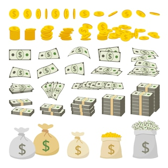 Satz dollarzeichengeld und goldmünzen lokalisiert auf weißem hintergrund