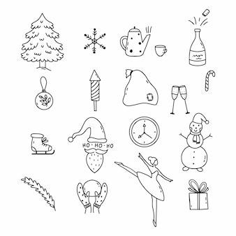 Satz doodle-elemente neujahr und weihnachten. malbuch kinder. handgemalt.