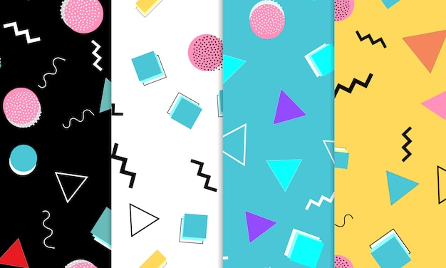 Satz doodle fun seamless patterns. sommer-gekritzelhintergrund. nahtlose 90er jahre. memphis-muster. illustration. hipster style 80er-90er jahre. abstrakter bunter funky hintergrund.