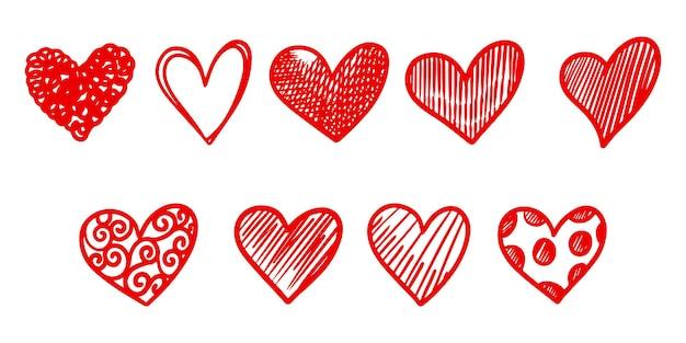 Satz doodle-herzen isoliert auf weißem hintergrund. hand gezeichnet von symbol love.vector illustration.