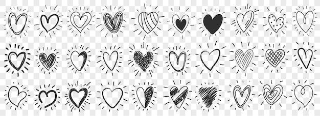 Satz doodle-herzen mit sonnenstrahlen. sammlung verschiedener handgezeichneter herzen für aufkleber. herz-symbol