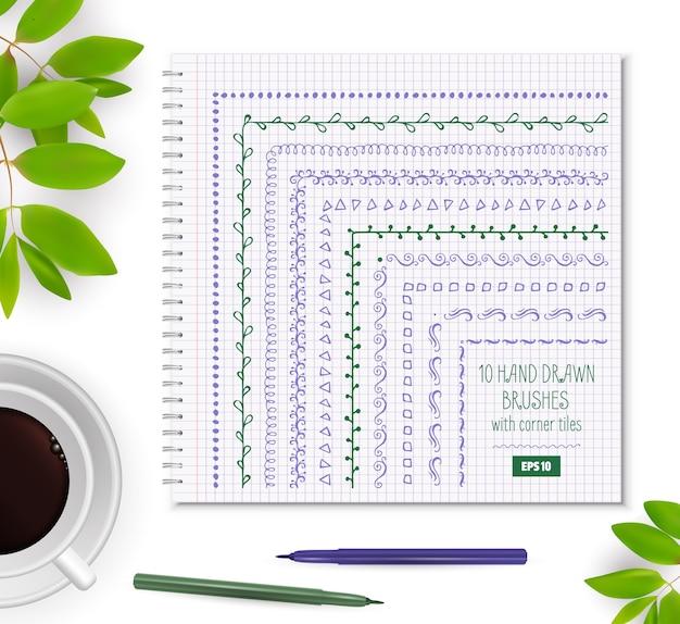 Satz doodle pattern seamless brushe.