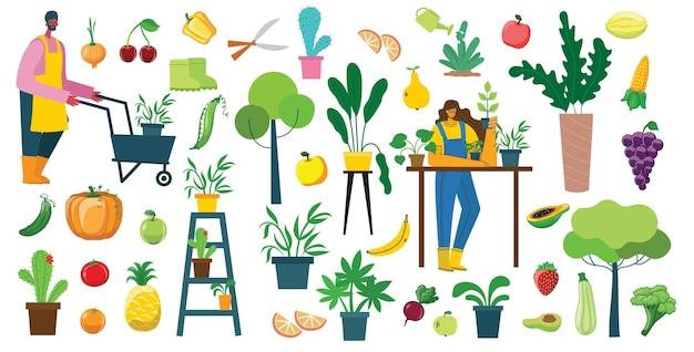 Satz dorfbewohner mit bio-öko-lebensmitteln, blumen und pflanzen in flachem design