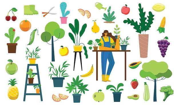 Satz dorfperson mit bio-öko-lebensmitteln, blumen und pflanzen im flachen stil