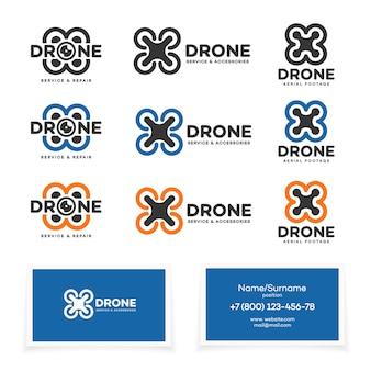 Satz drohne und quadrocopter-logo isoliert