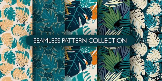 Satz dschungel exotische blätter nahtloses muster. hand gezeichnete tropische blatttapete. kreative botanische illustration.