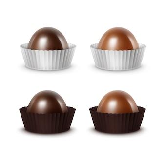 Satz dunkle bittere milchschokolade in papper