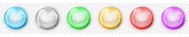 Satz durchscheinende farbige kugeln mit blendungen und schatten auf transparentem hintergrund. transparenz nur im vektorformat