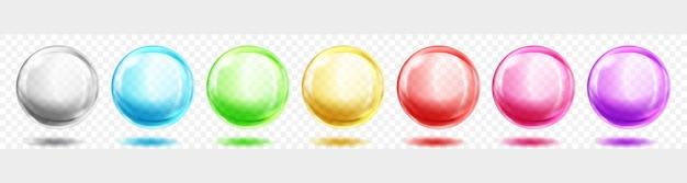 Satz durchscheinende farbige kugeln mit schatten auf transparentem hintergrund