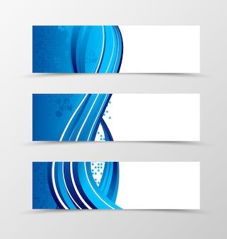 Satz dynamisches futuristisches design des header-banners