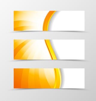 Satz dynamisches wellendesign des kopfbanners mit orangefarbenen linien im glänzenden stil.