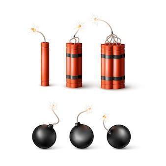 Satz dynamitbombe mit brennendem docht und schwarzer kugelbombe