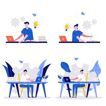 Satz e-learning-konzeptillustration. männliche und weibliche schüler lernen online zu hause.