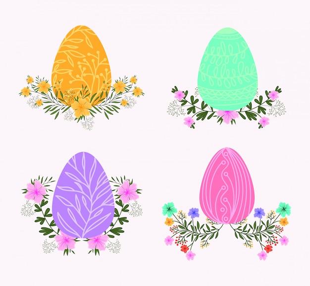 Satz eier gemalt und blumenosternikonen