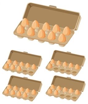 Satz eierkartons mit unterschiedlicher anzahl von eiern