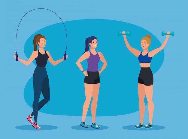 Satz eignungsfrauen mit seil und dummköpfen trainieren