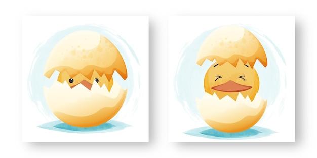 Satz einer niedlichen ente, die von einem ei schlüpft