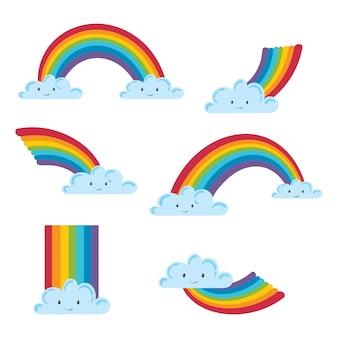 Satz einer wolke mit einem regenbogen in einer karikaturart. sammlung von wolken mit regenbogen. illustration für kinder.