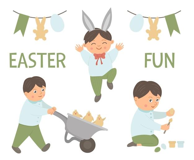 Satz eines glücklichen jungen, der osteraktivitäten tut. lustige illustration des frühlings. nettes kind, das ei färbt, eine schubkarre mit küken treibend, vor freude springend