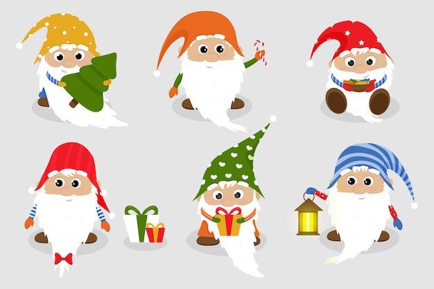 Satz eines niedlichen karikatur-weihnachtsgnoms